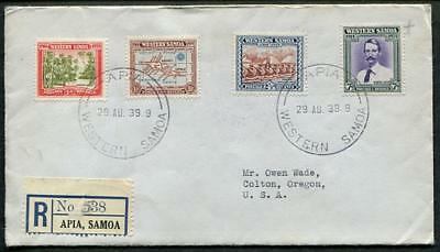 Western Samoa #181-84 August 29 1939 Apia, Registered FDC to USA