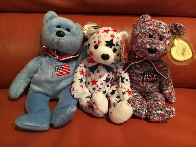 Ty Beanie Babies/ Bean Bag Plush Red/white/blue Lot Of (3) Different Bears