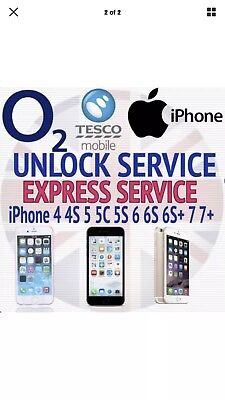 Unlocking Service For iPhone 5/6/6+/ 7 & 7+ ..02 Tesco Giffgaff Uk Networks Only