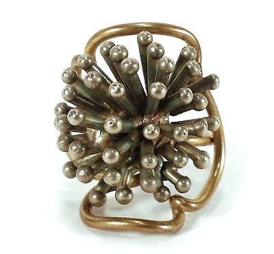 Modernist Vintage Costume Jewelry Mixed Metals Ring Mod Atomic Starburst Sputnik