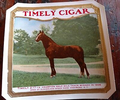 TIMELY 1906 Horse-racing Champion Knoxboro, New York OUTER CIGAR BOX LABEL RARE
