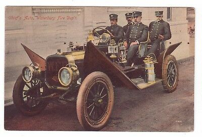 1911 View of Fire Chief's right Hand Drive Automobile Traveling in WATERBURY, CT