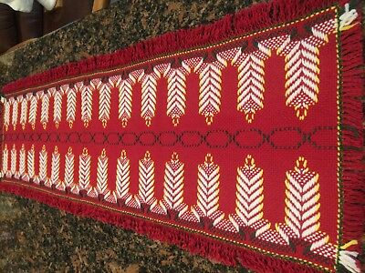 Christmas Candles Table Runner In Swedish Weave - Free Shipping!