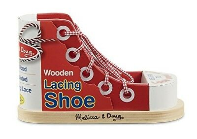 Melissa & Doug Deluxe Wood Lacing Sneaker - Learn to Tie a Shoe Educational