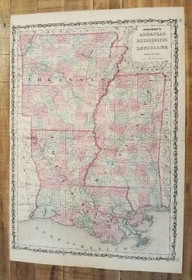 Antique Colored MAP OF ARKANSAS/MISSISSIPPI & LA - Johnson's Family Atlas 1863