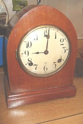 Mantel  Clock Gilbert  Striking Bell And  Coil Gong  Working