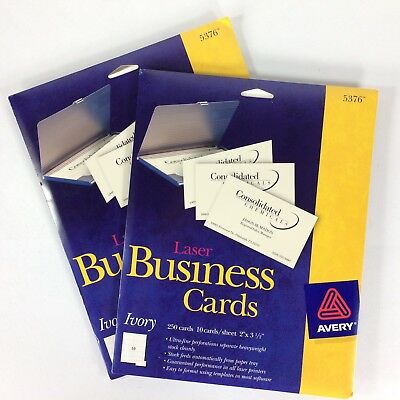 Avery Business Cards for Laser Printers 5376 Ivory 2 packs of 250 cards each