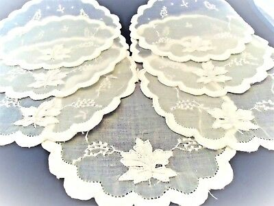 Vintage Madeira White Organdy Embroidered & Appliqued Coasters Grapes! Set Of 7
