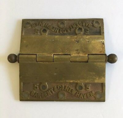"Vintage Sargent & Co New Haven CT 5"" Brass Door Hinge"
