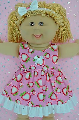 "Play n Wear Doll Clothes For 16"" Cabbage Patch STRAWBERRY PATTERN DRESS~HEADBAND"