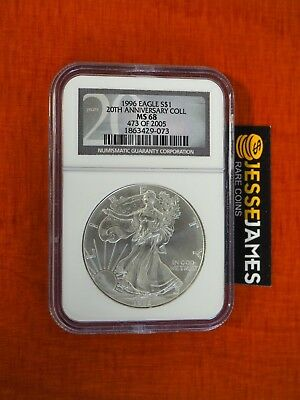 1996 $1 American Silver Eagle Ngc Ms68 From 20Th Anniversary Collection Label