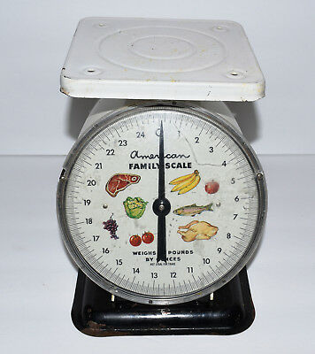 Vintage American Family Kitchen Scale 25 Lbs. White with Black Base Cool!