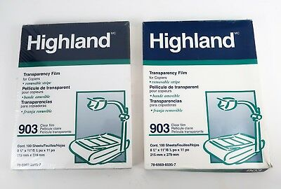 Highland Transparency Clear Film 903 for Copiers Lot of 2 One Box is Sealed