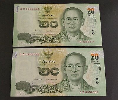 -Auction- Thailand 20 Baht Lot Of 2 Notes