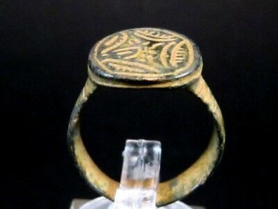 SUPERB CRUSADER BRONZE RING with CROSS ON THE TOP+++AS FOUND+++
