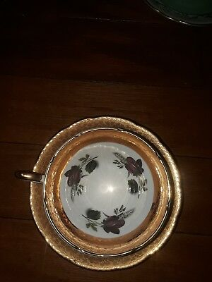Staffordshire Sutherland Bone China Red Roses Gold Trim Tea Cup And Saucer