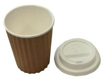 100 Sets x 12oz Brown Ripple Double Wall Coffee Cups And Lids 350ml Disposable