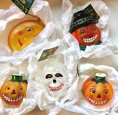 LOT of 5 OWC HALLOWEEN Old World Christmas_Light Covers_Skull_Moon_NEW w/Tags