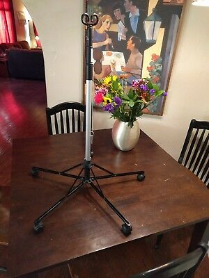 EUC Pitch-It by Sharps Foldable Portable IV Pole Stand 5 Roller Double Hook
