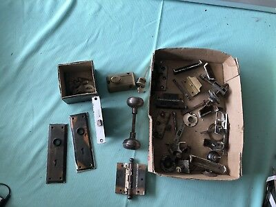 Lot Of Vintage CORBIN ENTRY LOCK w/ CYLINDER, KEY, Hardware PLATES & KNOBS Rare