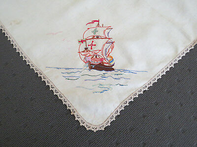 Vintage Traced Linen Table Cloth - Unfinished - Sailing Ship and Seagulls