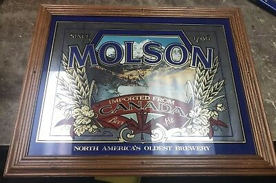 Vintage MOLSON Beer Large Bar Mirror Golden Canadian Ale Ice Geese 15x20