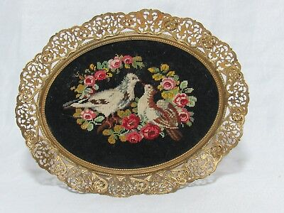 Vintage Antique Ornate Gold Filigree Frame w Petit Point Love Birds Roses Small