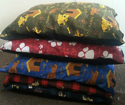 "Pack of 5 Large Size Dog Bed Filled Pillows Removable Zip 28""x38"" Random Designs"