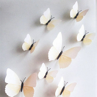 12 Butterflies For Wall/Stick On White/Tan Colored Butterfly Decals