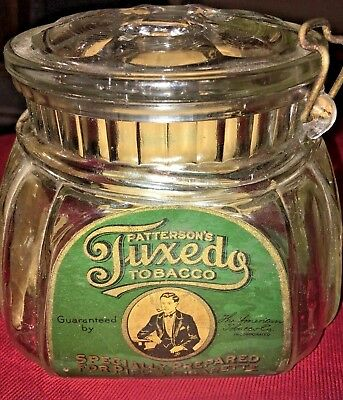 Vintage PATTERSON'S TUXEDO TOBACCO Jar with Lid - Excellent Condition!! GLASS