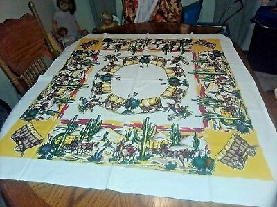 "Vintage Western Cowboy Ranch Tablecloth 52"" x 46"" #2"