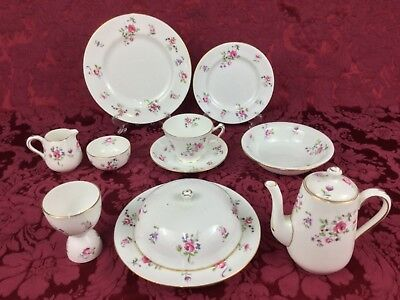 Crown Staffordshire Pink Roses F7295 Individual 12-Piece Breakfast Set For ONE