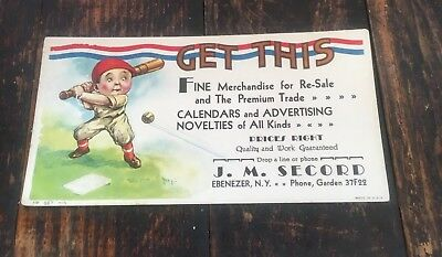 Vintage Baseball Player Ink Blotter - Ebenezer N. Y.