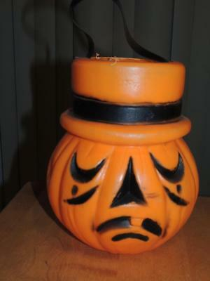 Vintage Halloween Blow Mold Pumpkin Jack-O-Lantern Two Sided/Faced Candy Bucket