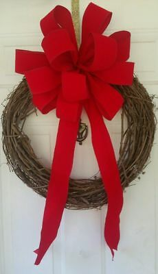 "12 "" Large Red Velvet Christmas Bow  For Wreath Wired Edge Ribbon Topper Swag"