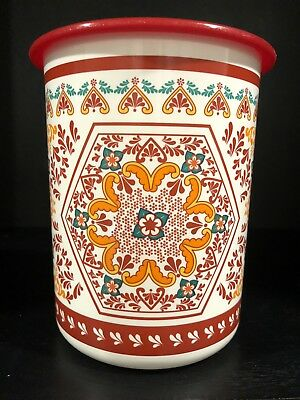 Tupperware One Touch 5 Cup Canister Red Floral Design #2422 with lid/seal #2423