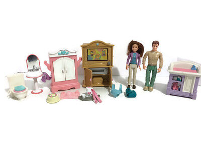 Fisher Price Loving Family Dolls and Furniture Lot #2410