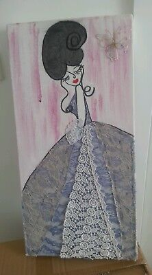 Mixed Media Artwork Paint / Vintage Lace And Found Object. Original Work.