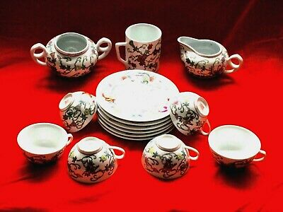 Vintage Chinese Mun Shou Longevity White Floral 15 Piece Tea Set Stamped