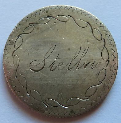 Stella Love Token on 1853 Seated Liberty Silver Quarter, Coin Pin  (132231B)