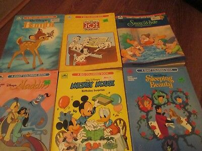 Vintage Walt Disney lot of 6 Coloring / Paint with water Books