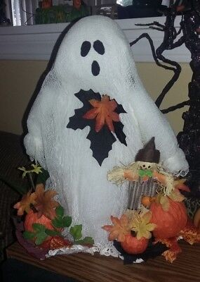 """Hallloween Fall Ghost and Scarecrow with Leaves 10"""" Tall"""