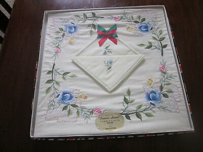 Vintage Unused Boxed Floral Embroidered Tablecloth And Napkins