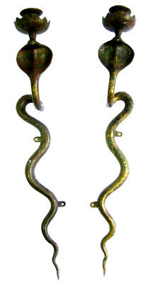 Vintage Pair of Egyptian Brass Cobra Snake Candle Holders Wall Sconces RARE!