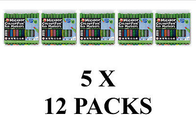 NEW BULK 5 x Micador Colourfun ECO Markers Green Earth Collection 12 Pack MAW750