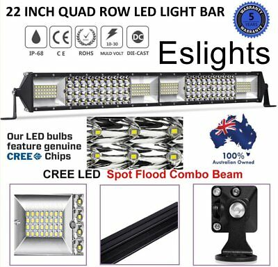 22Inch Quad Row Cree Led Light Bar 4Wd Off Road Combo Spot Flood Suv Ford Jeep