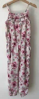 Girls Matalan Age 6 Pink Long Trouser Playsuit Outfit Floral 5-6 Years