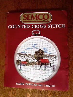 Semco Counted Cross Stitch Kit Of A Dairy Farm. Frame Not With Kit.