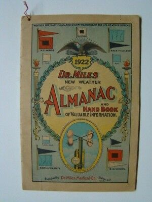 1922 Dr. Miles New Weather Almanac & Hand Book Dr. Miles Medical Co. Elkhart IN