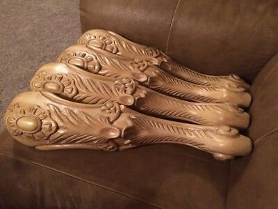 Set Of 4 Ornate Victorian Elegant Wood Furniture Bench Table Legs 18""